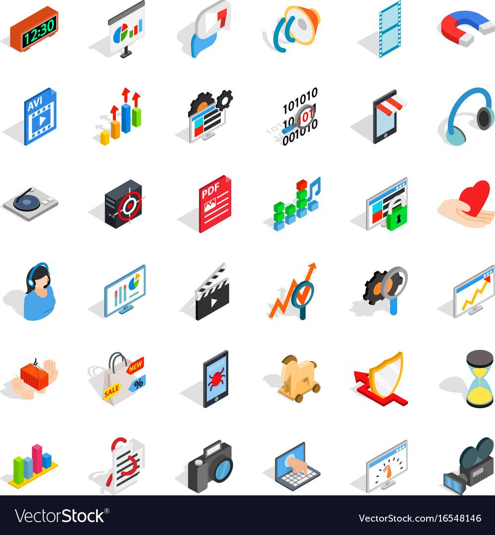 Right design icons set isometric style