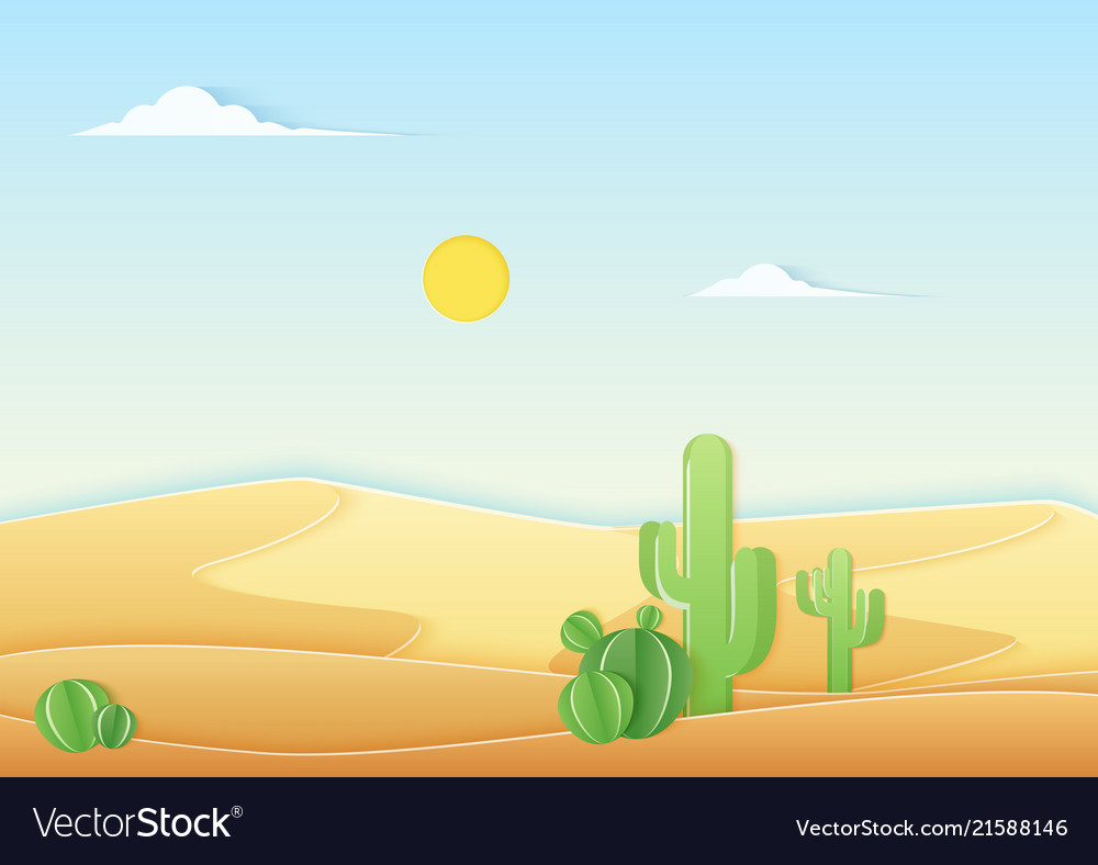 Trendy paper cuted style desert landscape vector