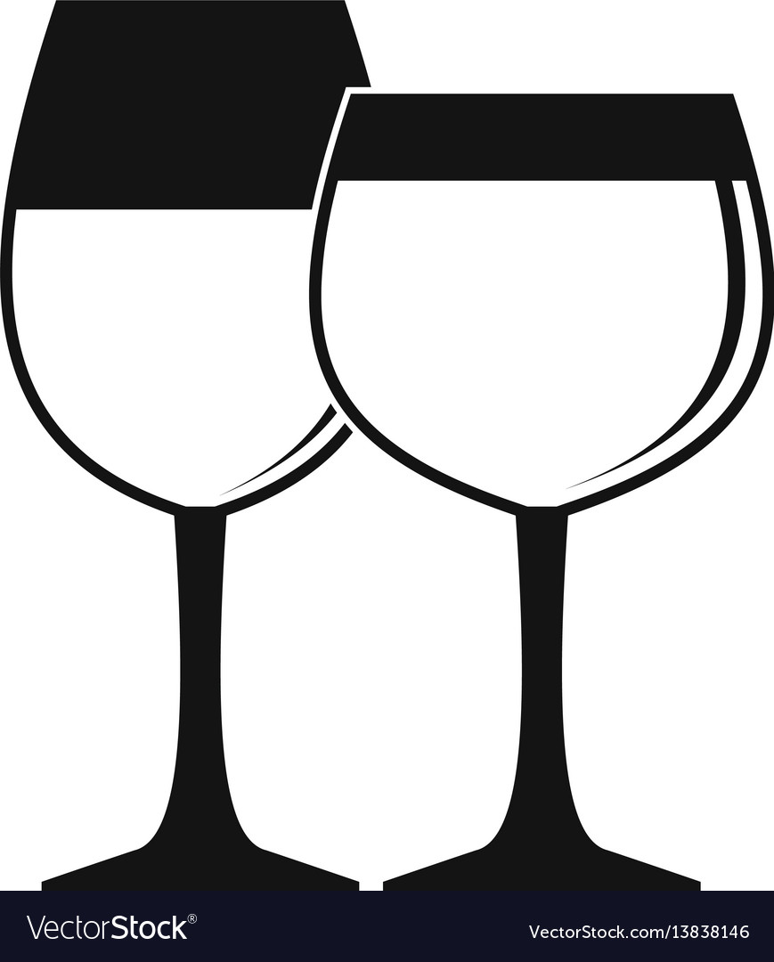 Two glasses of wine icon simple style vector image