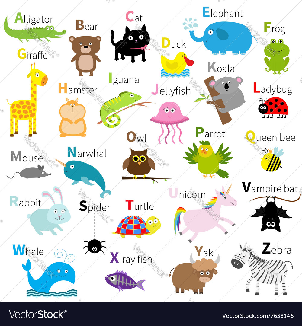 Zoo animal alphabet Cute cartoon character set