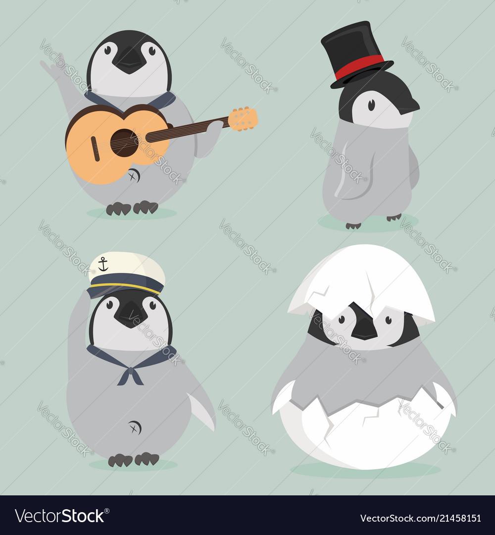 Baby penguin characters set