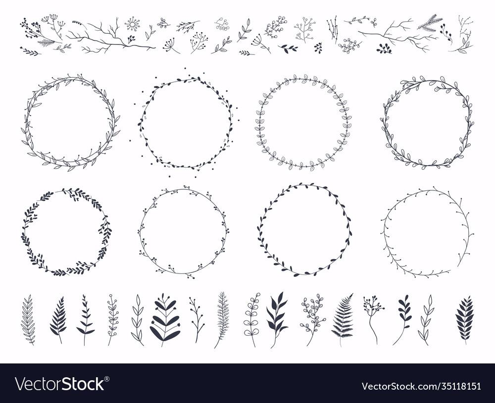 Floral ornament frames hand drawn ornamental