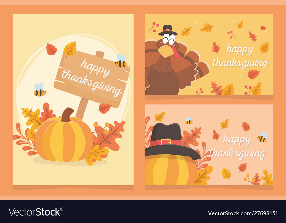 Happy thanksgiving inscription turkey pumpkins