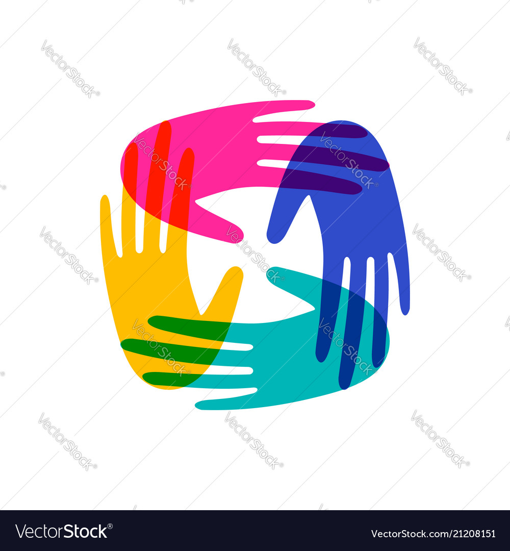 Human hands together for community help