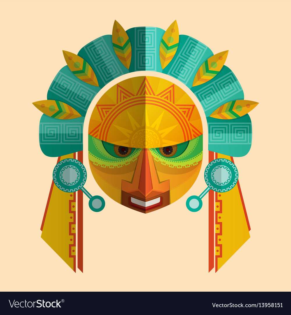 Image of a mask of the mayans with ethnic ornament