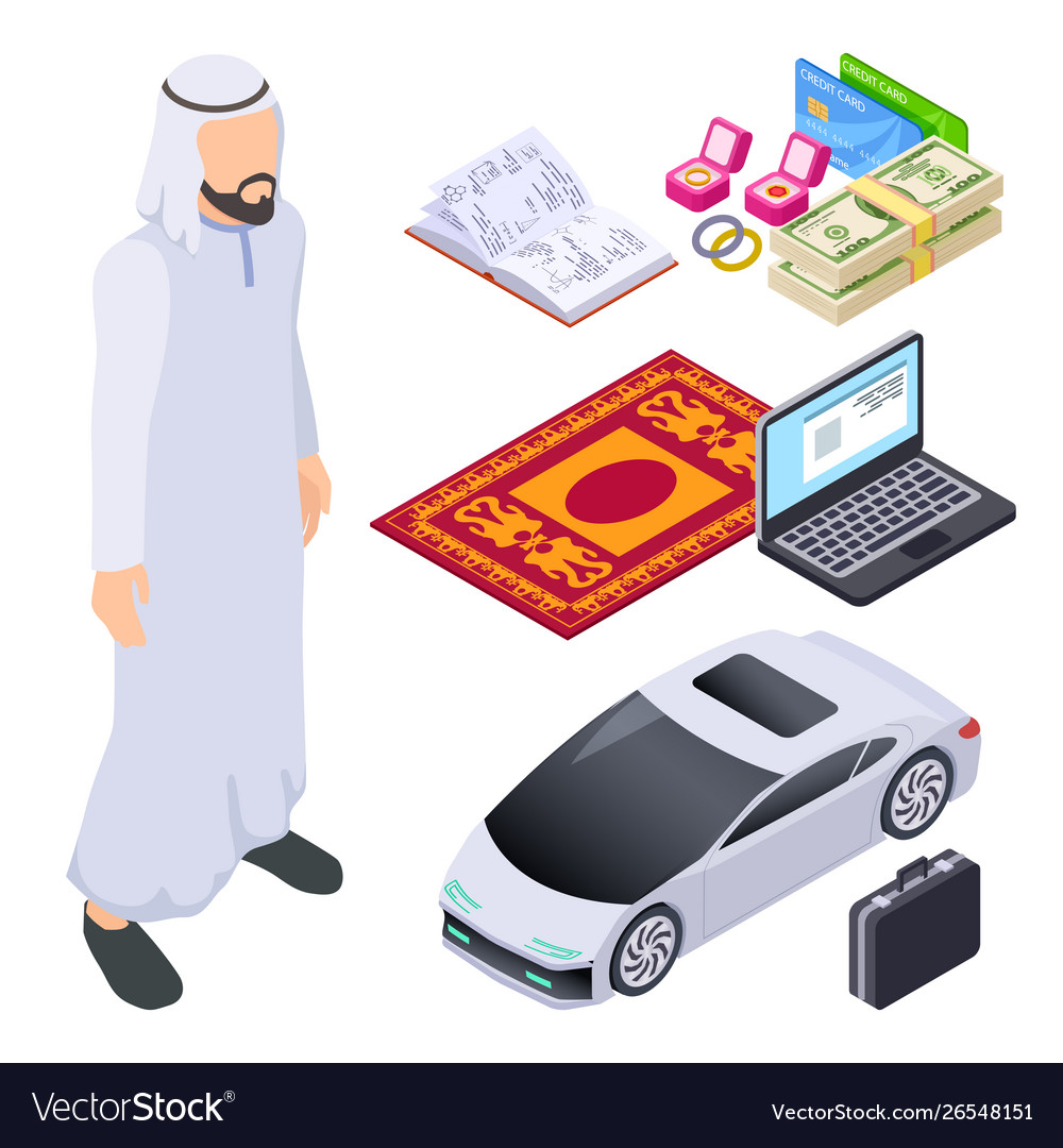 Isometric muslim arab man and traditional and