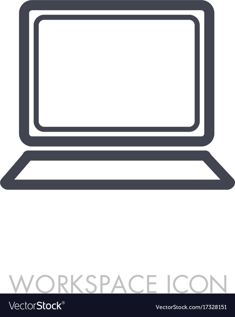 Laptop outline icon workspace sign
