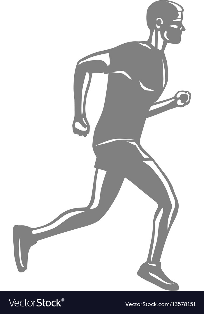 Silhouette of isolated running male on white