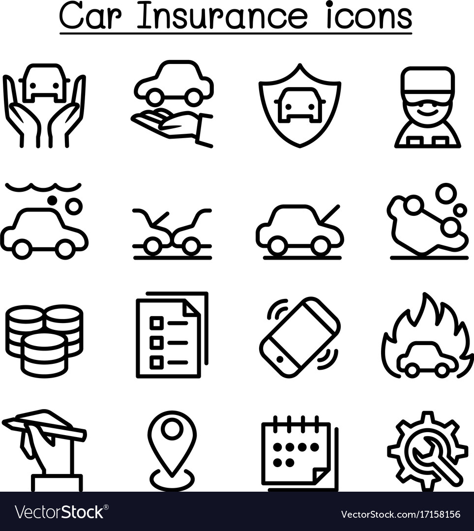 Car insurance icon set in thin line style