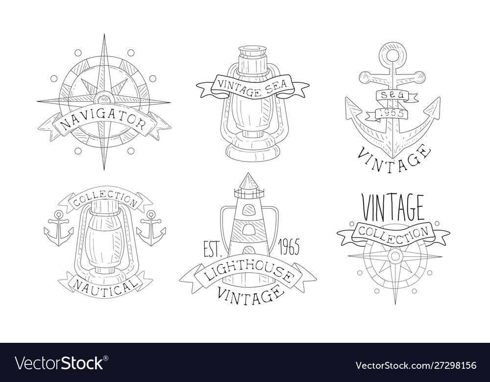 Collection nautical vintage sea labels