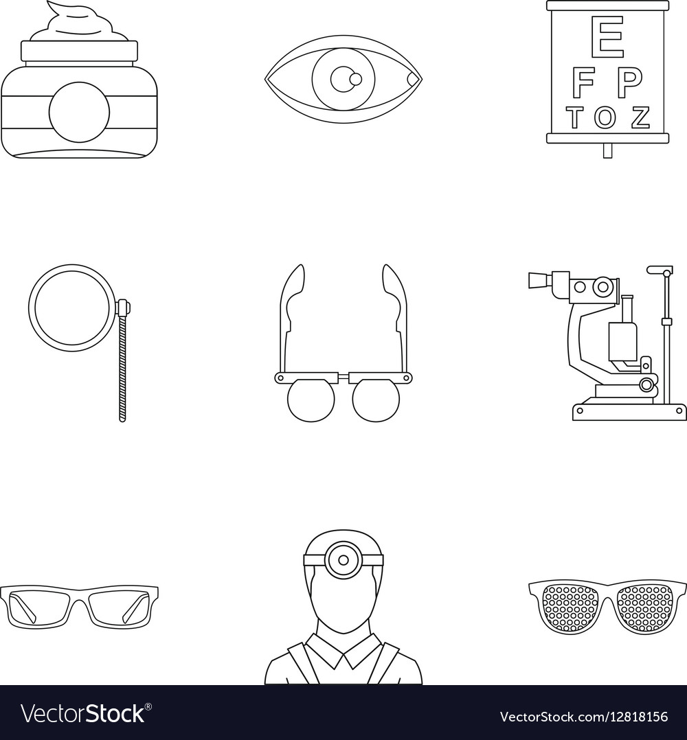 Eyes icons set outline style