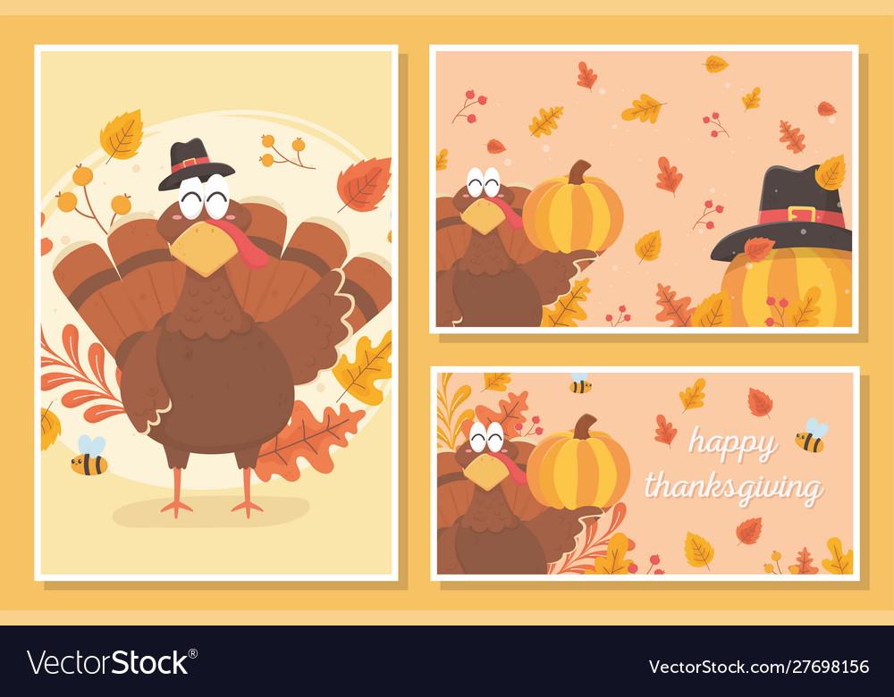 Happy thanksgiving turkey with pilgrim hat leaves