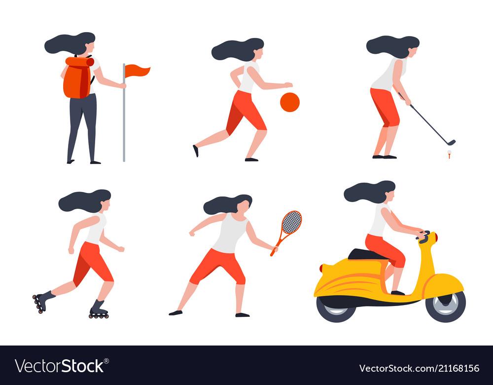 Set Of Girls In Different Summer Activities Vector Image