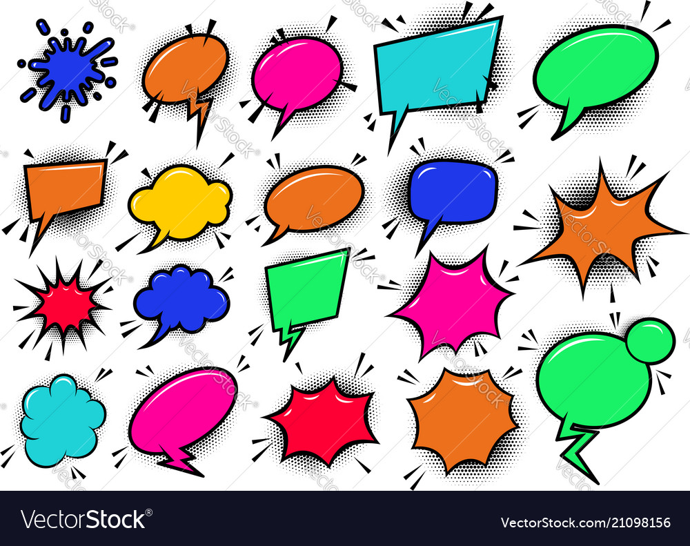 Set of pop art style comic cartoon speech bubbles