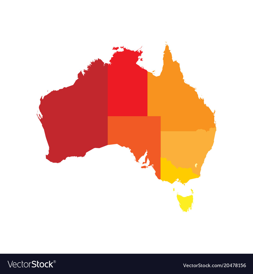 A Map Of Australia With The States.Simplified Map Of Australia Divided Into States