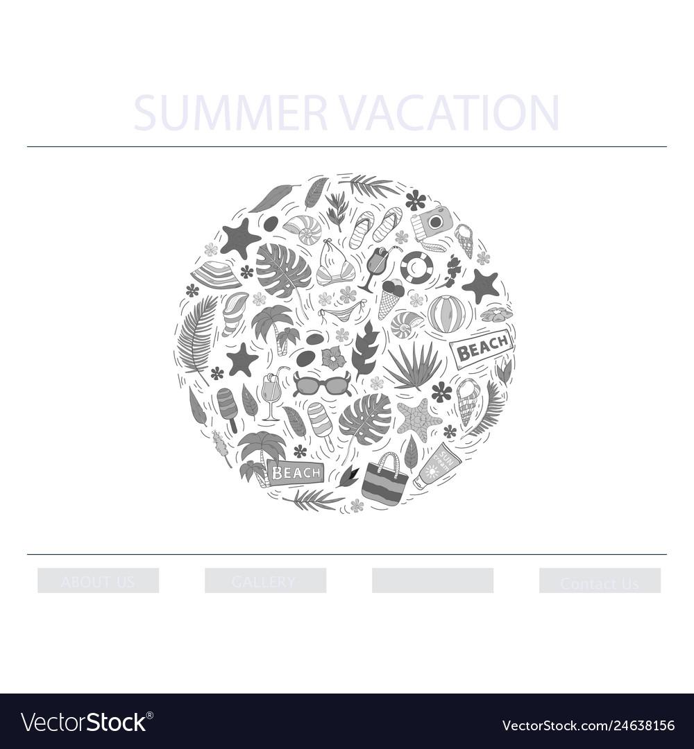 Summer vacation conceptin circle
