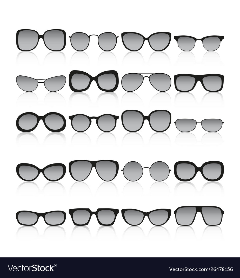 Sunglasses icon set different spectacle frames