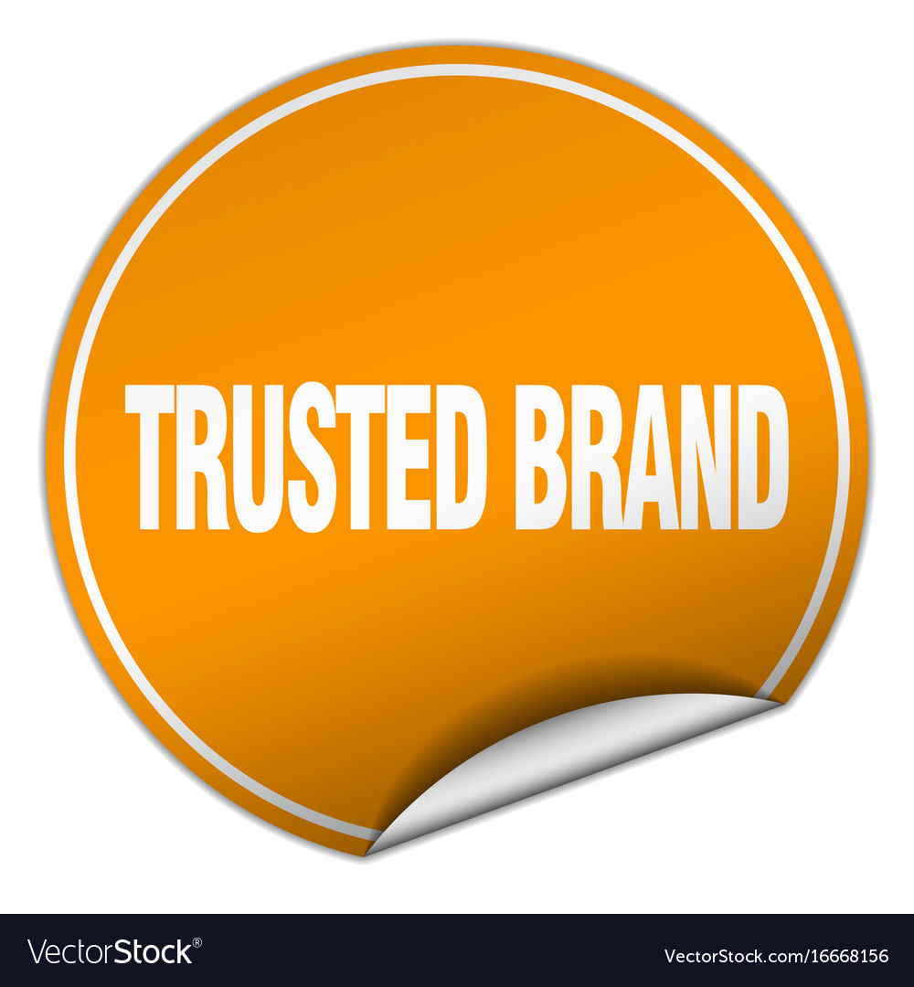 Trusted brand round orange sticker isolated on vector image