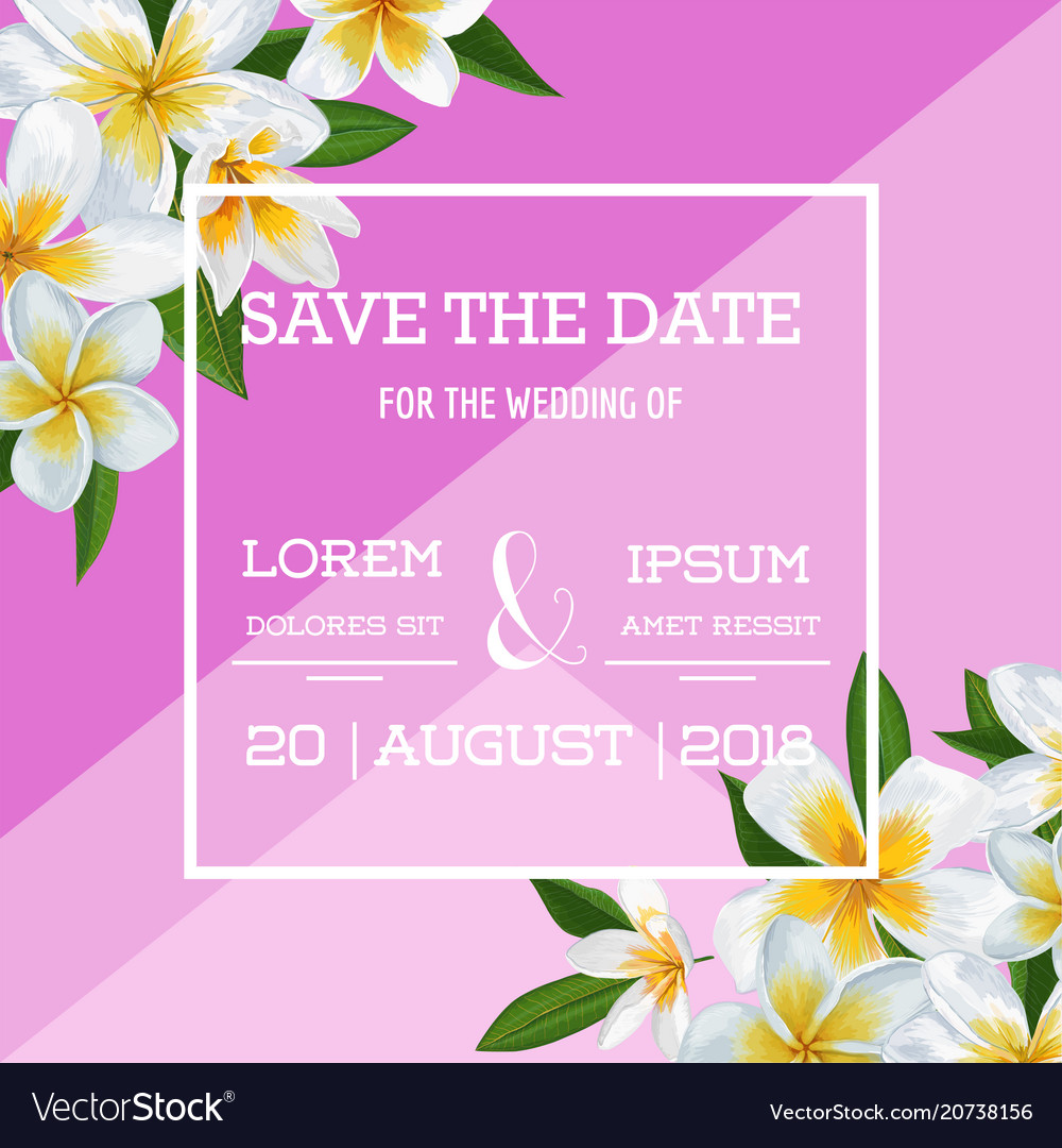 Wedding invitation template with plumeria flowers
