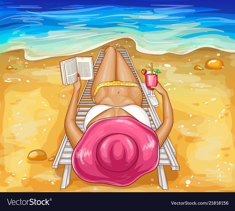 Woman in bikini lies on chaise-longue