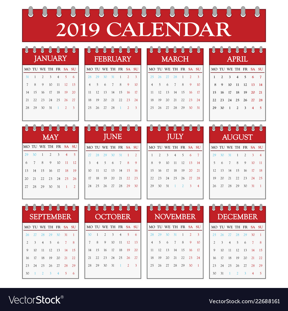 Calendar 2019 Office 2019 office calendar Royalty Free Vector Image