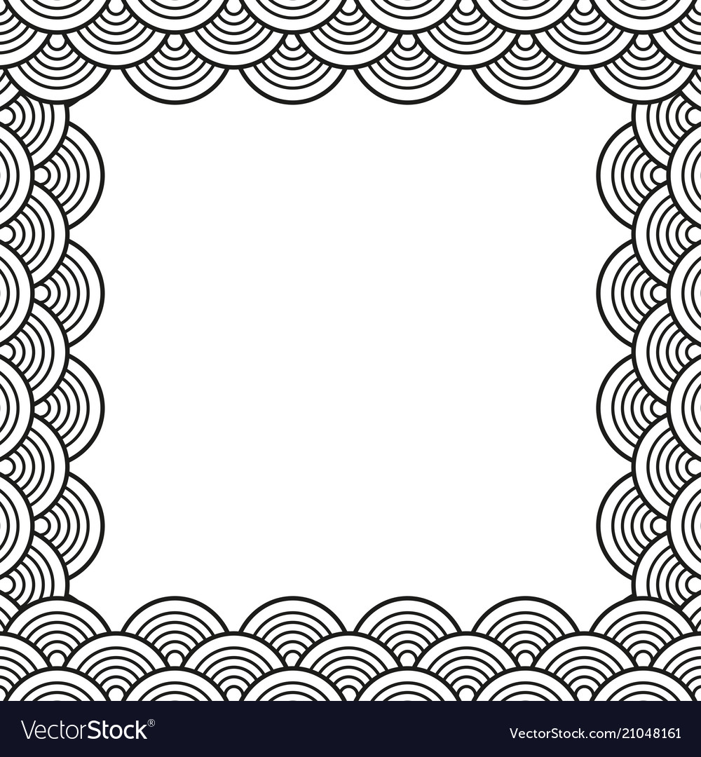 Black Traditional Wave Japanese Chinese Border Vector Image