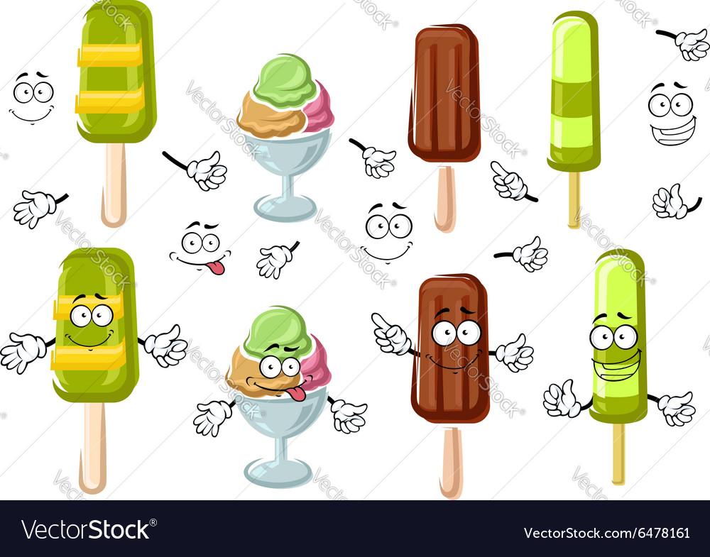 Cartoon ice cream bar sundae and popsicles