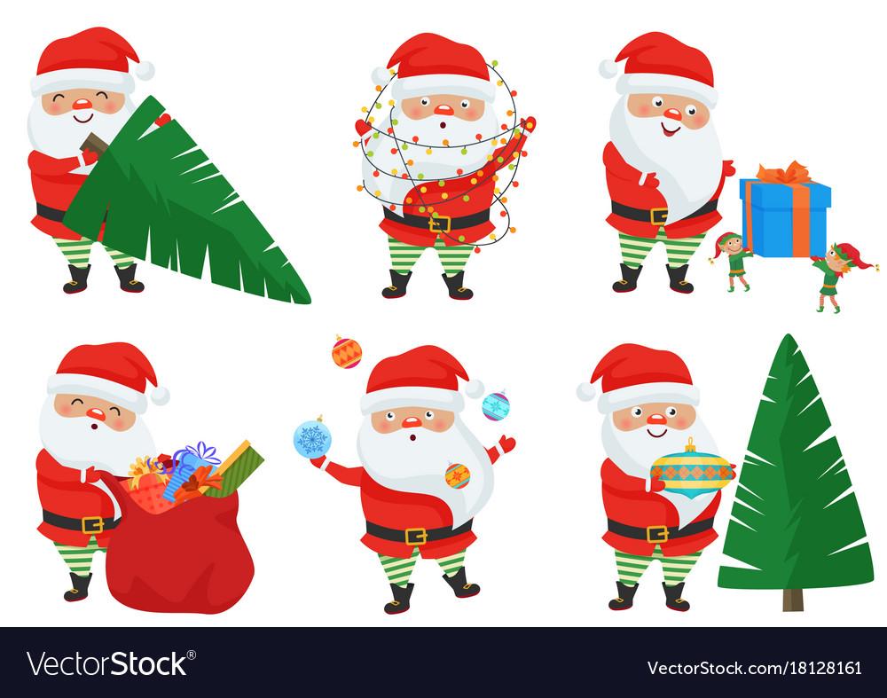 Christmas santa claus poses set