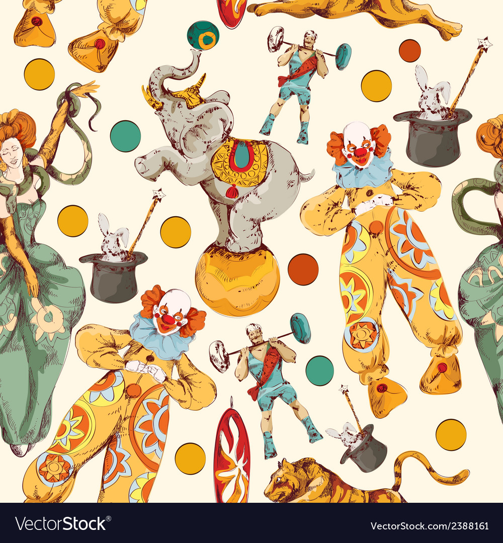 Circus doodle sketch color seamless pattern vector image