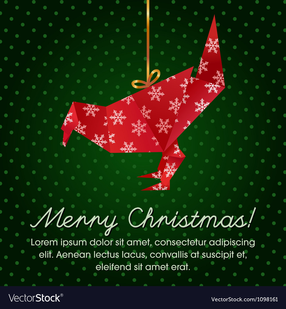 Colorful Christmas Greeting with an origami bird