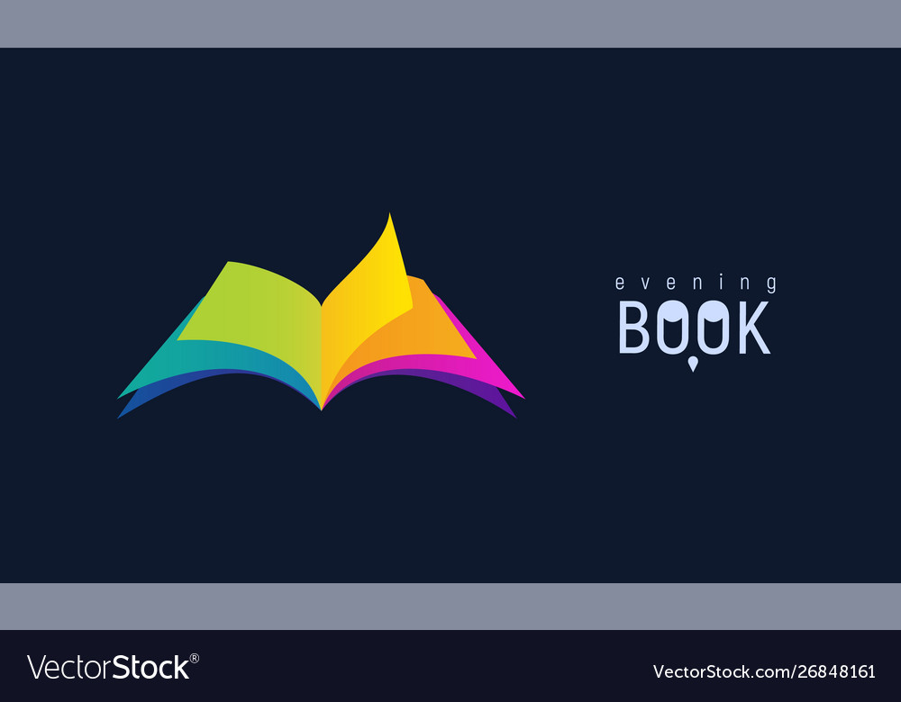 Colorful open book on dark background isolated