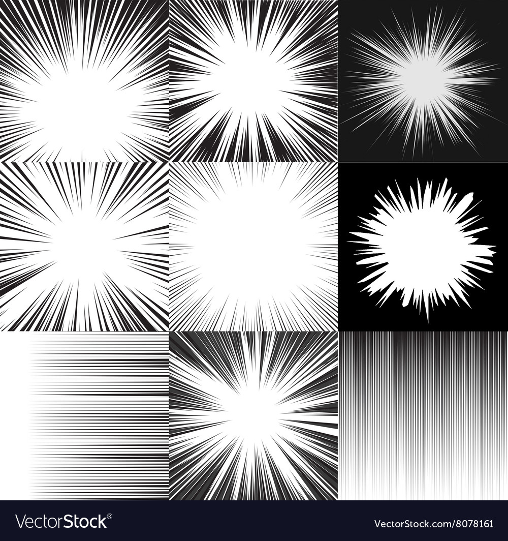 Comic book speed horizontal lines background set