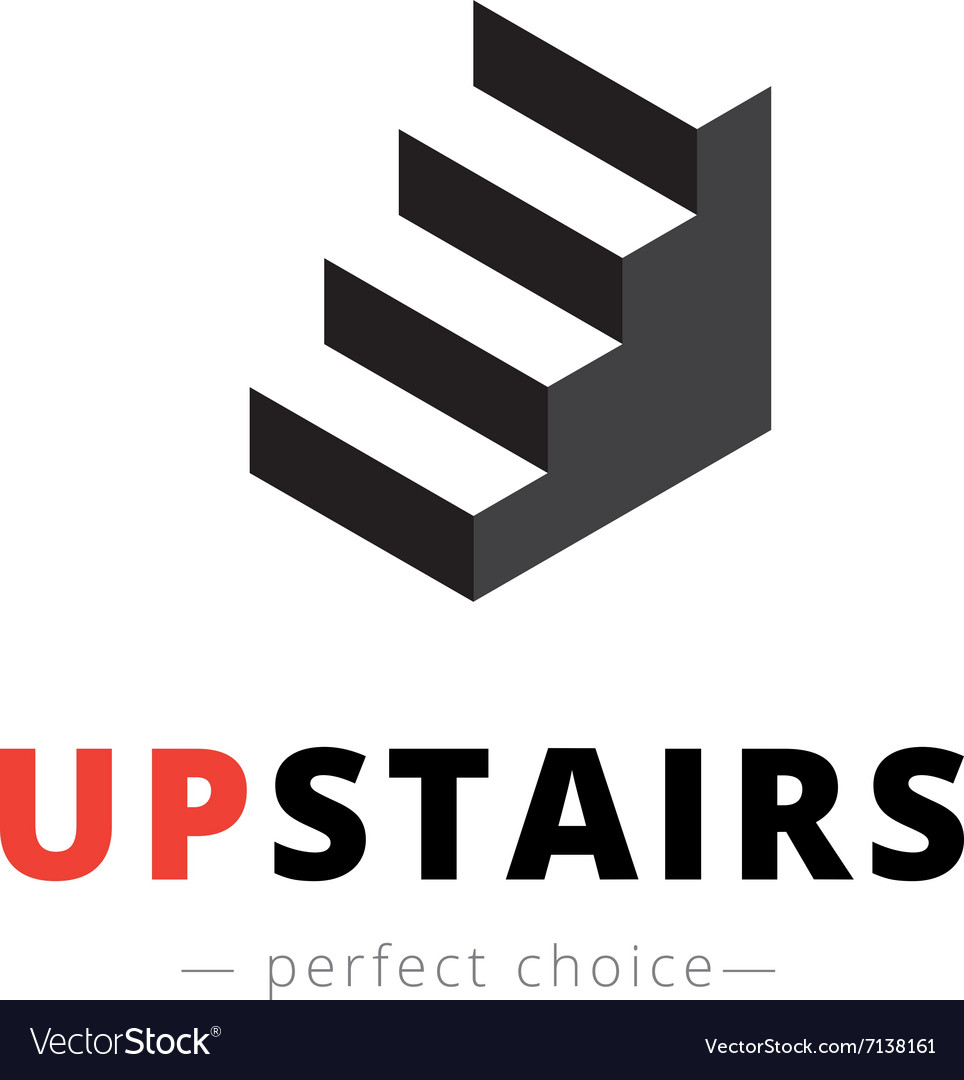 Isometric Stairs Logo Brand Sign Vector Image