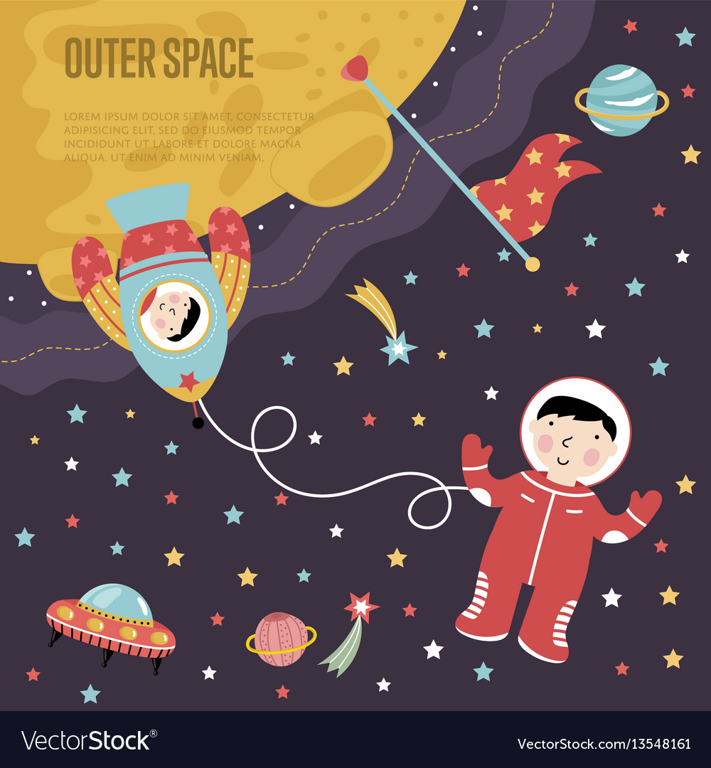 Outer space cartoon web banner