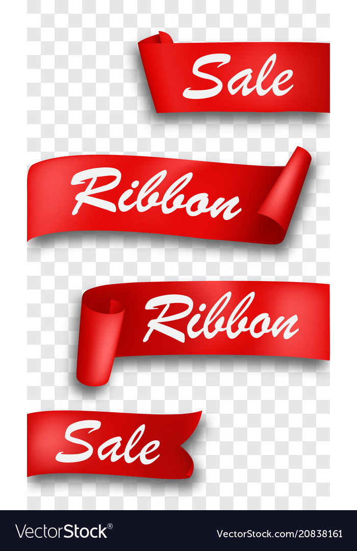Red ribbon banner isolated on transparent