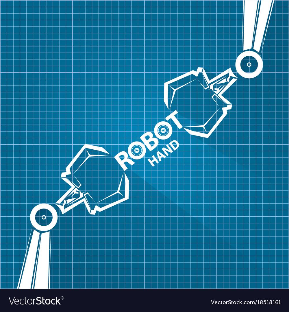 Robotic arm symbol on blueprint paper royalty free vector robotic arm symbol on blueprint paper vector image malvernweather Gallery