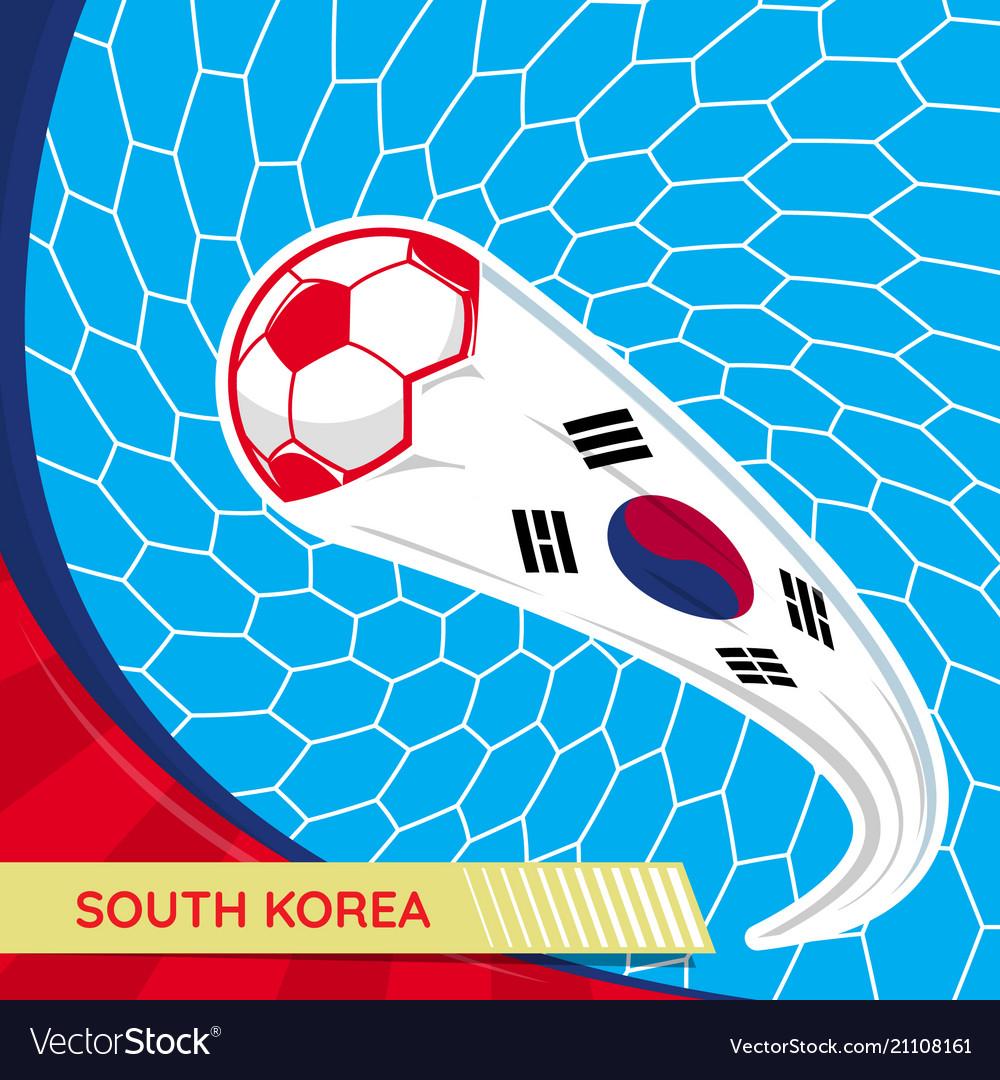 South korea waving flag and soccer ball in goal
