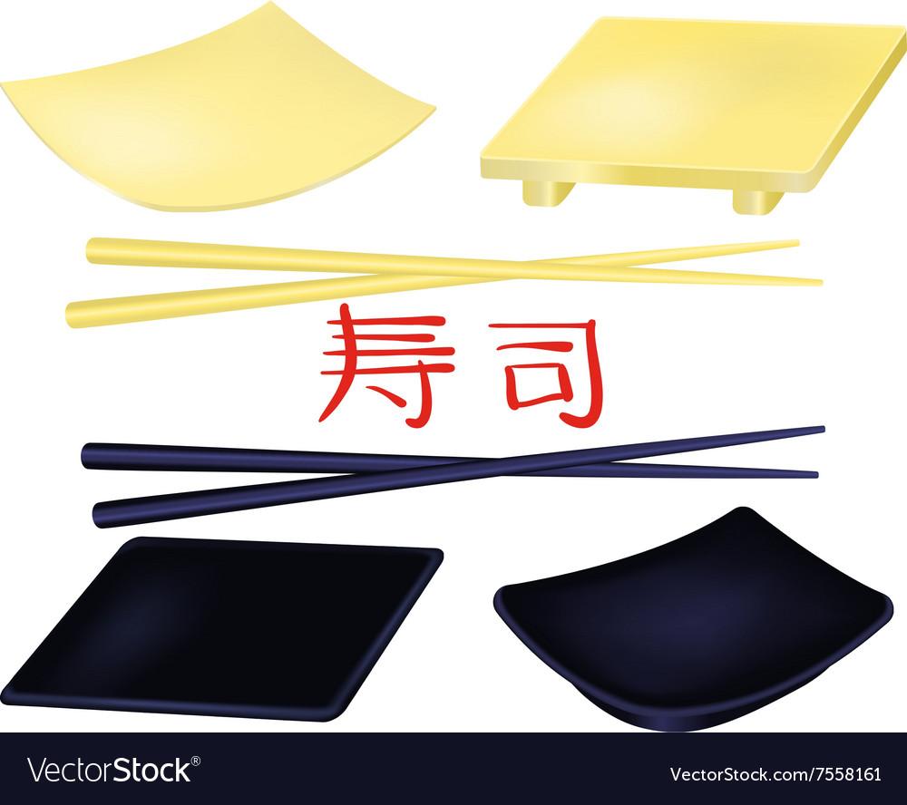 Sushi plates and chopsticks set vector image