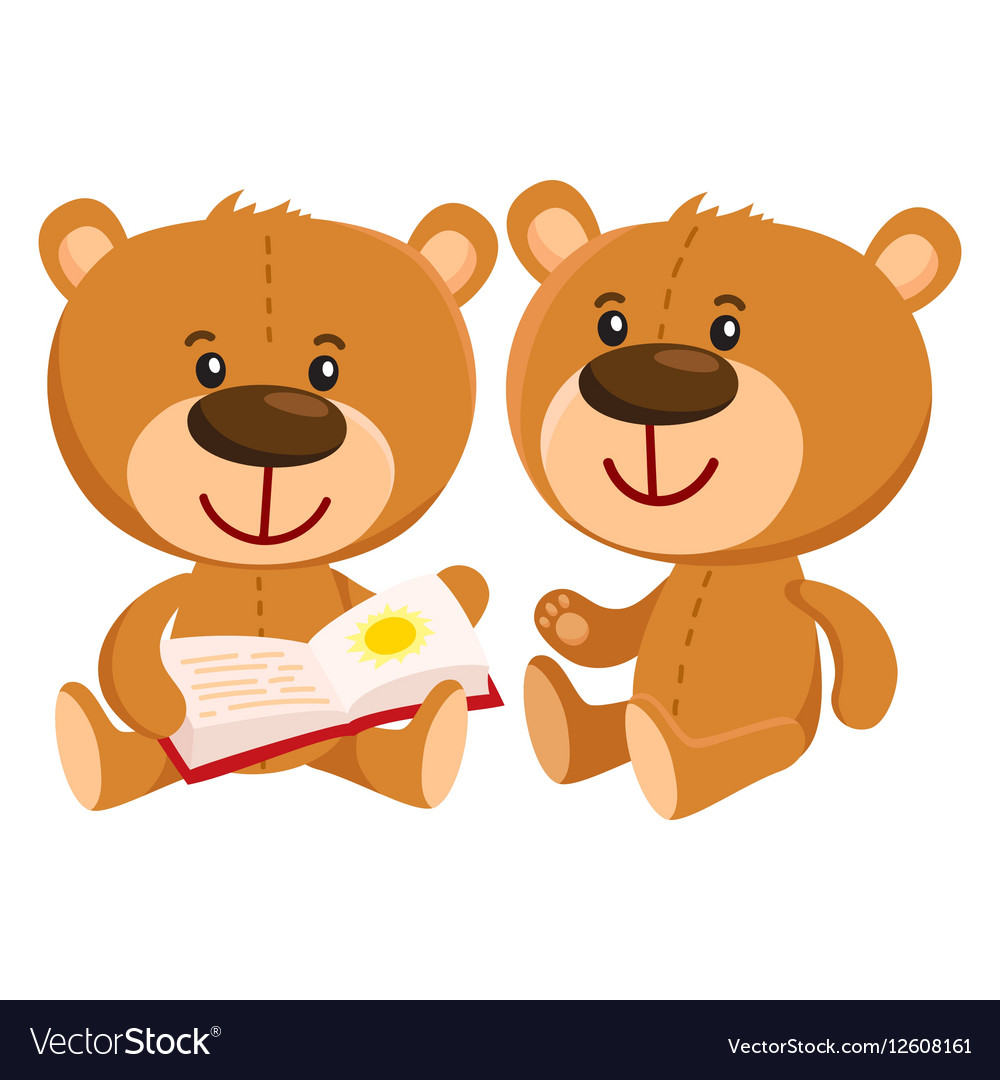 Two retro style teddy bear characters sitting and