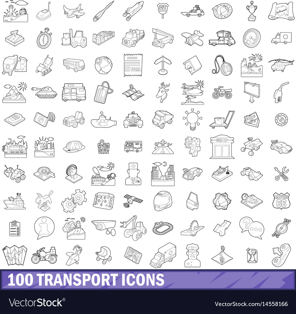 100 transport icons set outline style