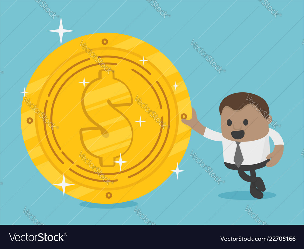 African businessman with dollar coin