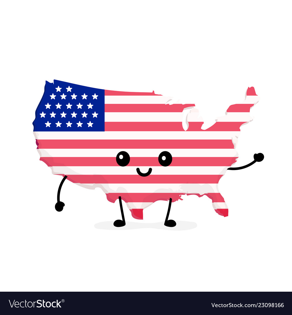 Cute funny smiling happy usa map Royalty Free Vector Image