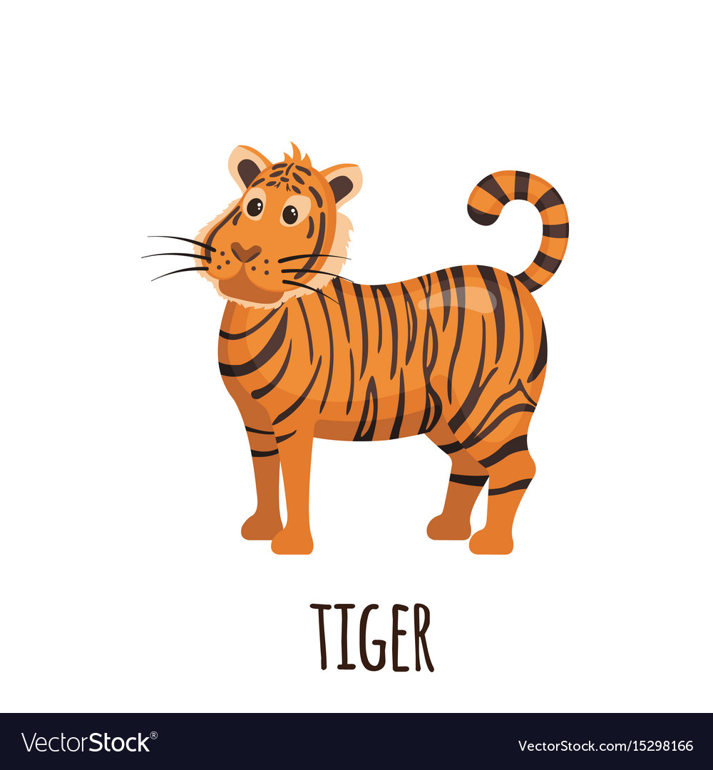 Cute tiger in flat style