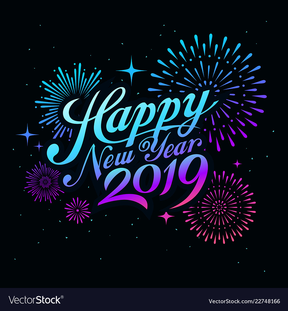 Happy new year 2019 message with firework