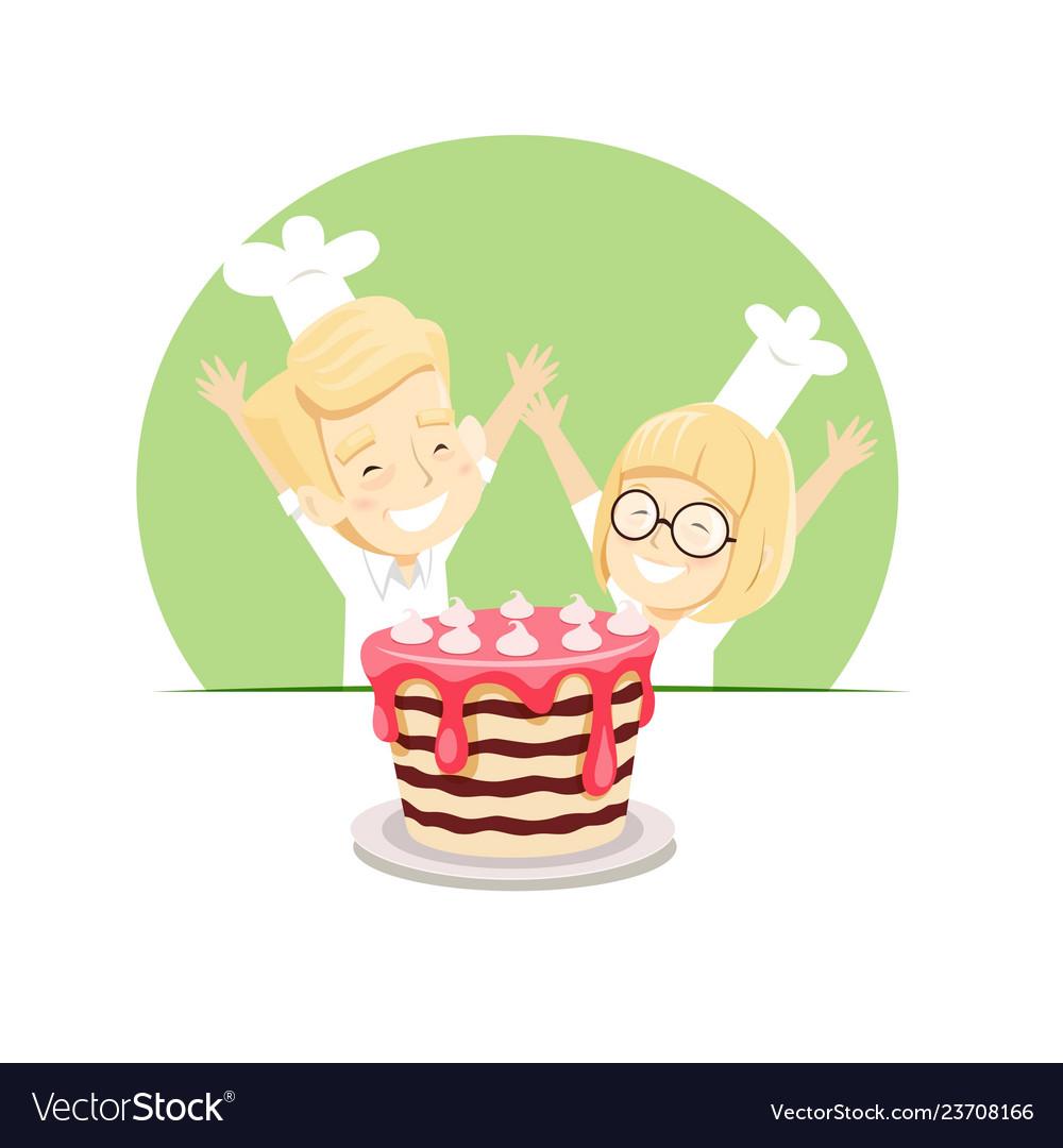 Joyful boy and girl baked a cake