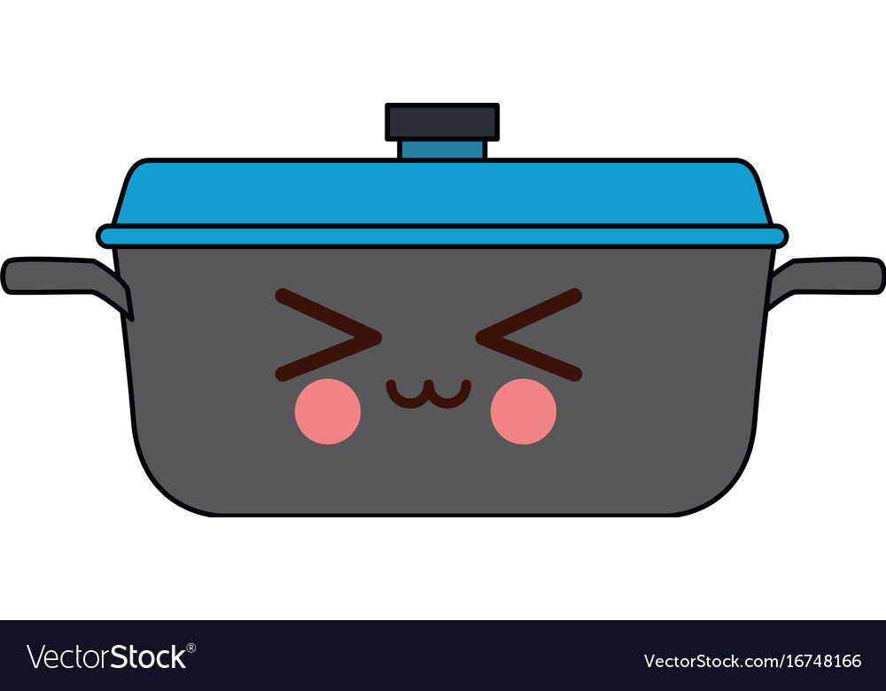 Kawaii Kitchen Pot Cartoon Saucepan Vector Image