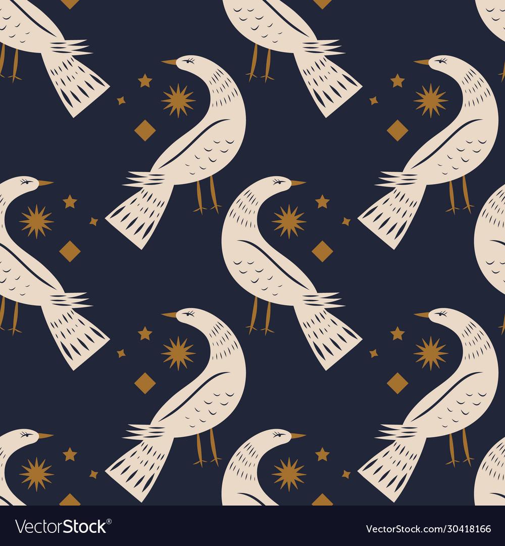 Night bird seamless pattern or digital paper