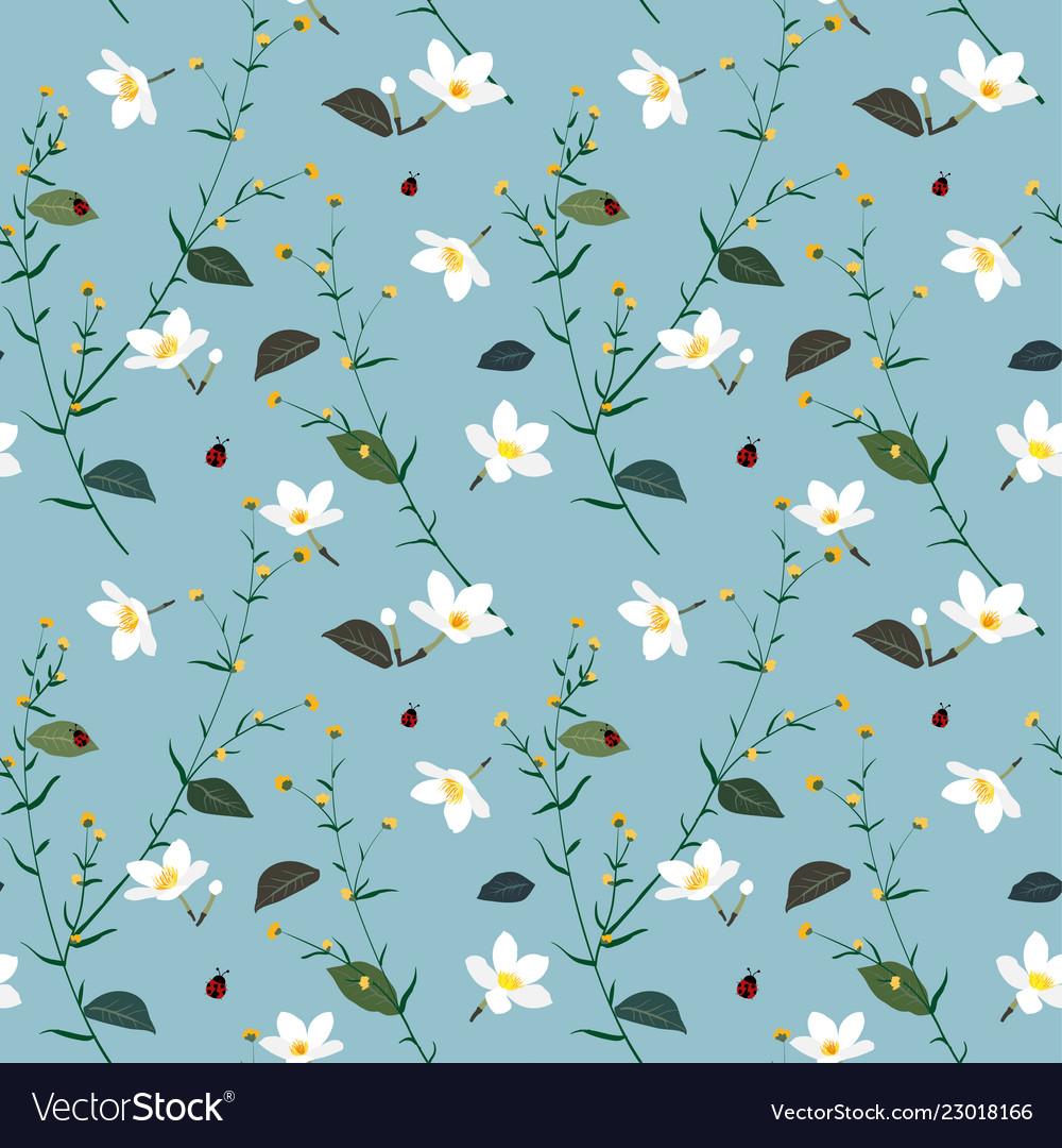 Pastel seamless pattern with wild flower