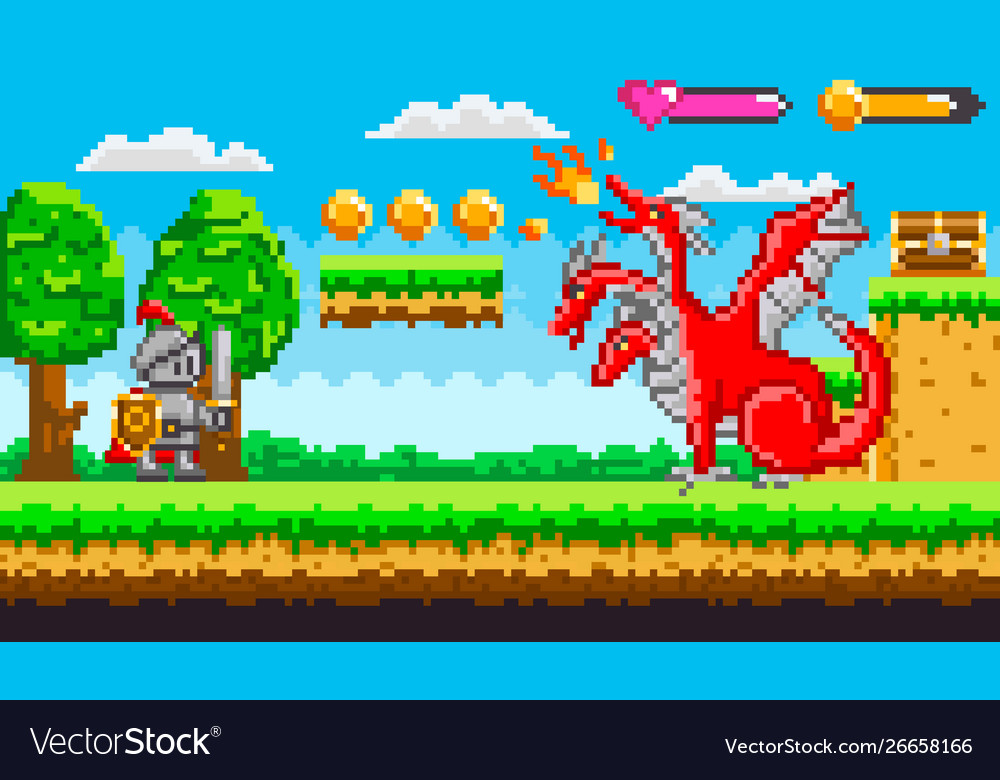 Pixel game with dragon and knight fighting