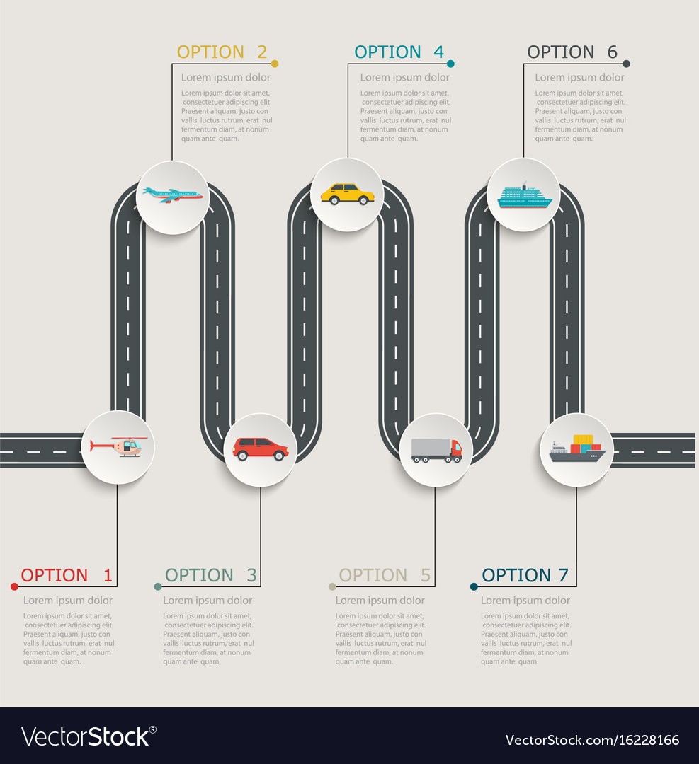 Road infographic stepwise structure